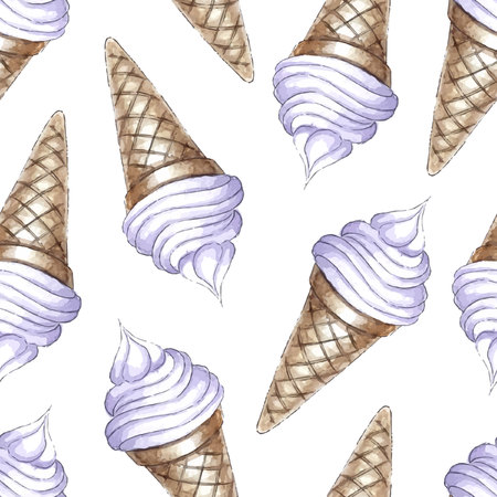 cone: Watercolor Seamless pattern with blueberries ice-cream