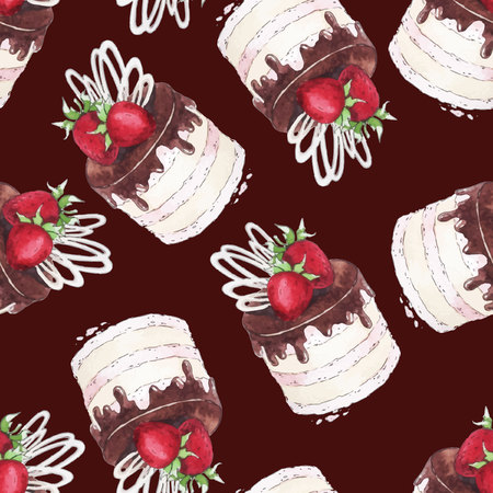 cream filled: Watercolor Seamless pattern with strawberry cake.