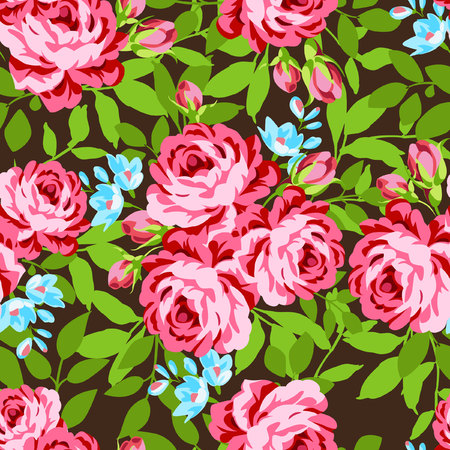 roses garden: Seamless floral pattern with garden pink roses