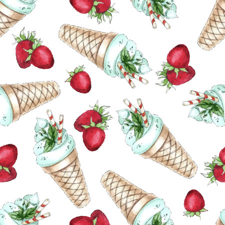 peppermint cream: Watercolor Seamless pattern with peppermint ice cream and strawberry