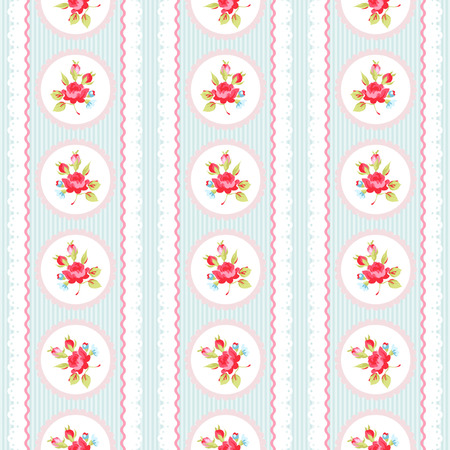 rosary: Seamless pattern with pink roses and lace