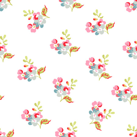 Seamless floral pattern with little pink and blue flowers Ilustracja