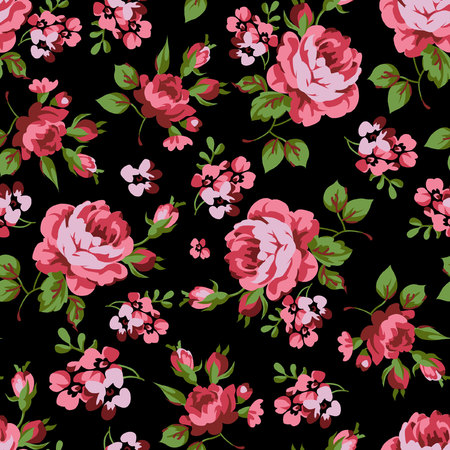 soulful: Seamless floral pattern with red roses on black background Illustration