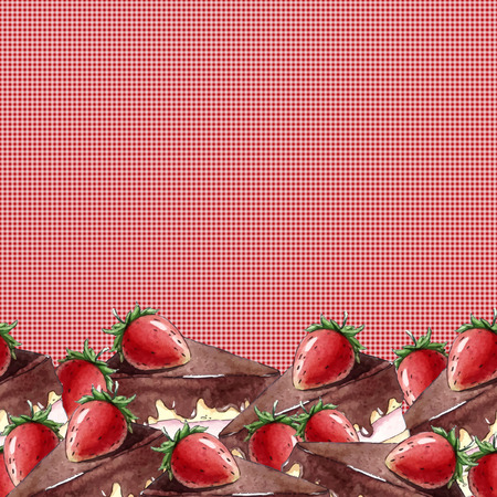 strawberry cake: Watercolor Seamless pattern with strawberry cake