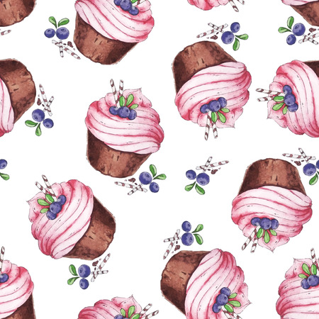 cute wallpaper: Watercolor Seamless pattern blueberries cupcakes