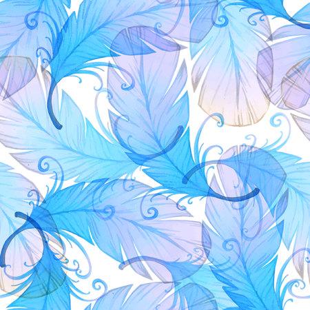 piuma bianca: Acquerello seamless con piume di uccello.