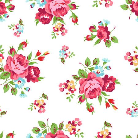 빨간 장미와 원활한 플로랄 패턴