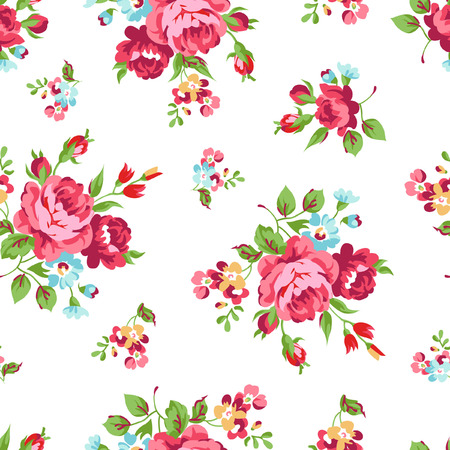 floral fabric: Seamless floral pattern with red rose