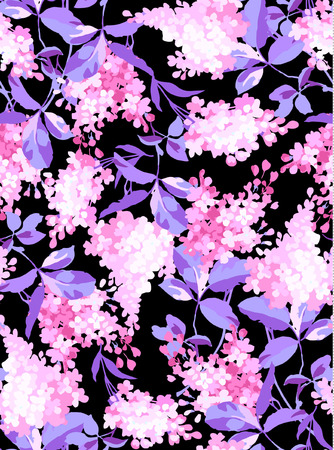 pink and black: Seamless floral pattern with pink flowers on a black background
