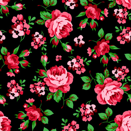 Seamless floral pattern with red roses on black background Vettoriali