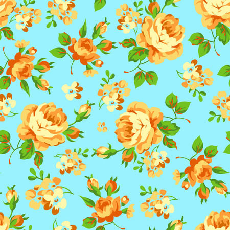 Seamless floral pattern with yellow roses on blue background