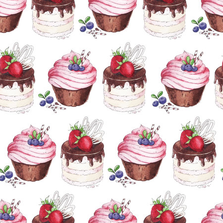 filled: Watercolor Seamless pattern blueberries cupcakes and strawberry cake.
