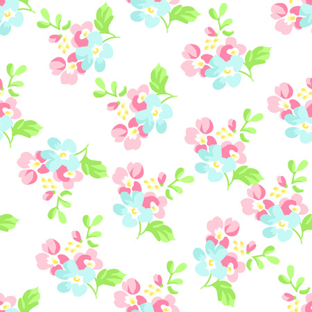 shabby: Seamless floral pattern with little pink and blue flowers Illustration