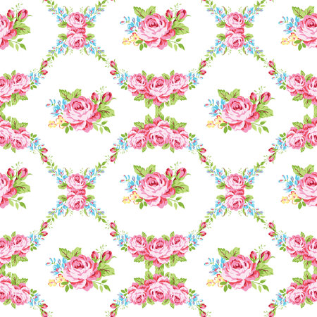 shabby: Seamless floral pattern with garden pink roses and forget-me Illustration