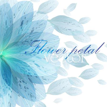 Bloemen rond patroon van blauwe bloemblaadjes