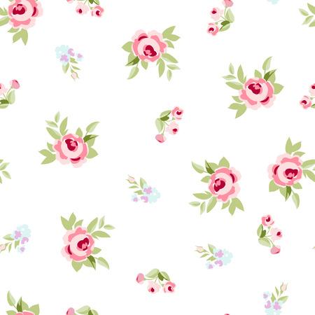 Nahtlose Blumenmuster mit kleinen Blüten rosa Rosen, Vektor Blumenillustrationen im Vintage-Stil. Vektorgrafik