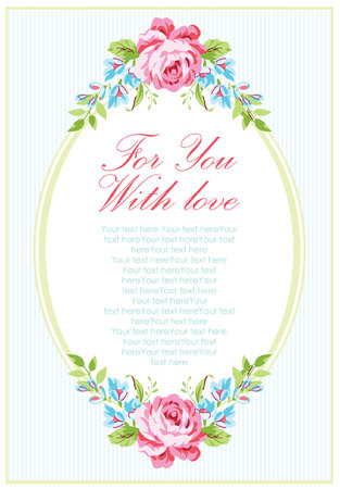 baby blue: Wedding invitation card template with garden pink roses and forget-me