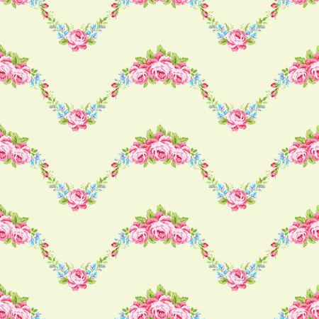 roses garden: Seamless floral pattern with garden pink roses and forget-me Illustration