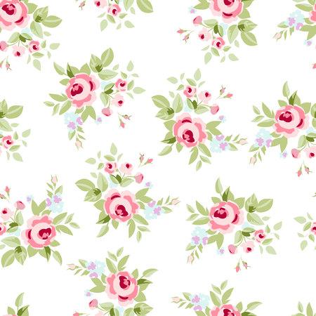 작은 꽃 핑크 장미, 빈티지 스타일의 벡터 꽃 그림 원활한 플로랄 패턴입니다. 일러스트