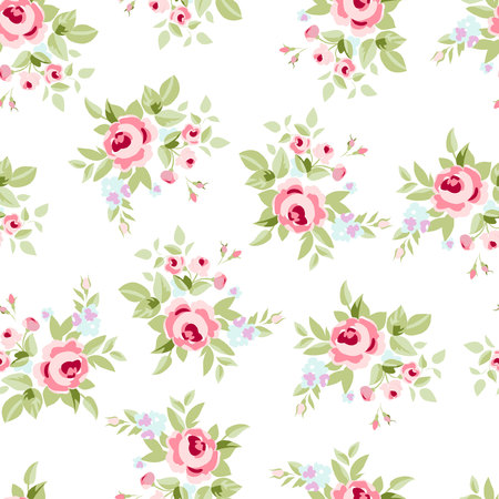 seamless floral pattern: Seamless floral pattern with little flowers pink roses, vector floral illustration in vintage style.