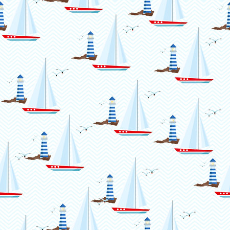 vessel: Seamless pattern with lighthouse, seagulls and sailing ship