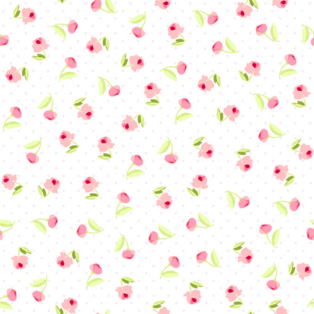 pink flowers: Seamless floral pattern with little flowers pink roses, vector floral illustration in vintage style.