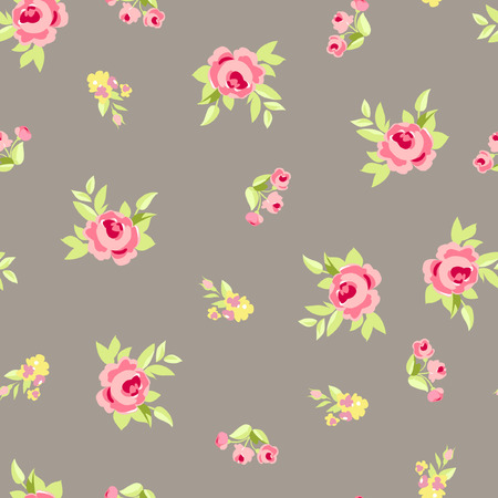 liberty: Seamless floral pattern with little flowers pink roses, vector floral illustration in vintage style.