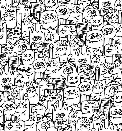 Patter pattern con elementi bizzarri e caratteri. Archivio Fotografico - 49442527
