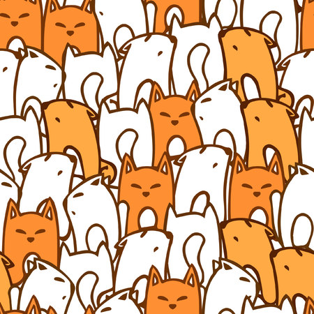 cute: Seamless pattern with cartoon foxes