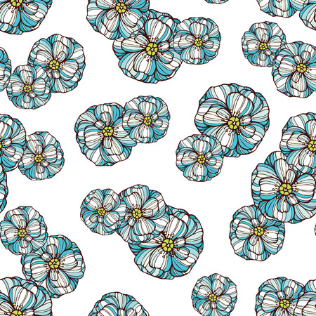 poppy flowers: Seamless floral pattern with blue poppy flowers Illustration