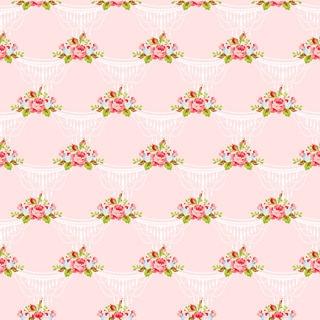 english rose: Seamless floral pattern with bouquets of English Roses