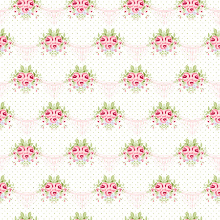 Seamless floral pattern with bouquets of English Roses