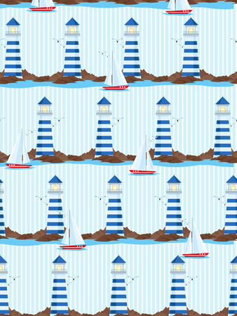 seagulls: Seamless pattern with lighthouse, seagulls and sailing ship
