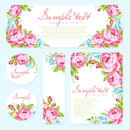 wedding background: Wedding invitation card template with garden pink roses and forget-me