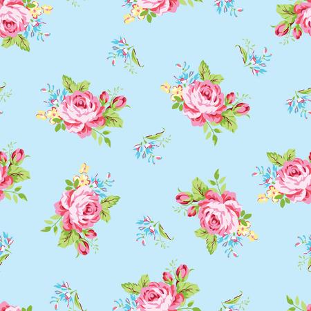 庭のシームレス花柄ピンクのバラと忘れて-私