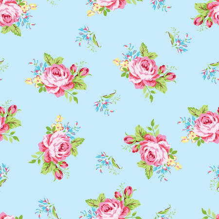 Seamless floral pattern with garden pink roses and forget-me Иллюстрация