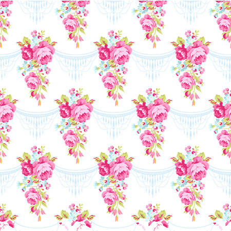 flora  vector: Seamless floral pattern with bouquets of English Roses