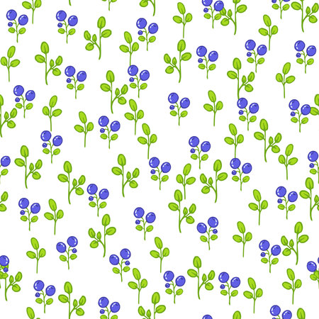 blueberries: Seamless floral pattern with blueberries