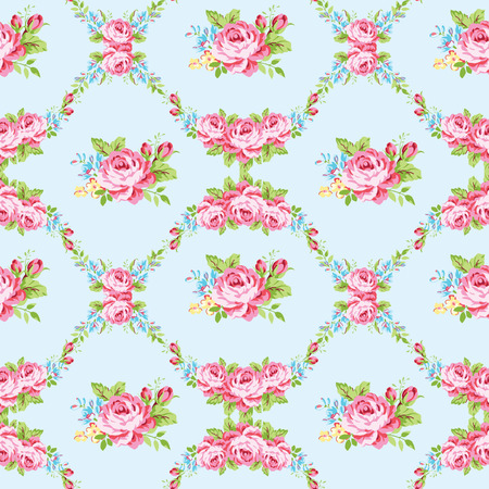 vintage paper: Seamless floral pattern with garden pink roses and forget-me Illustration