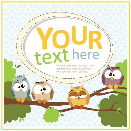 cute owl: Greeting card with a cute owl sitting on the branch Illustration