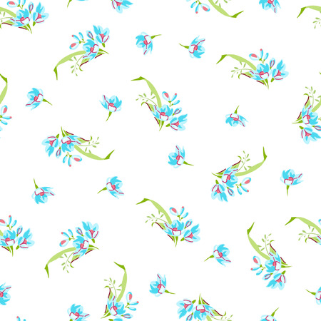 floret: Vector seamless pattern with small blue flowers. Illustration