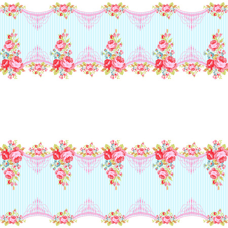 stripe pattern: Seamless Pattern with red roses on a background with stripes Illustration