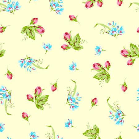 petites fleurs: Vector seamless pattern avec un petit bleu forget-me-not a augmenté de fleurs et les bourgeons rouge