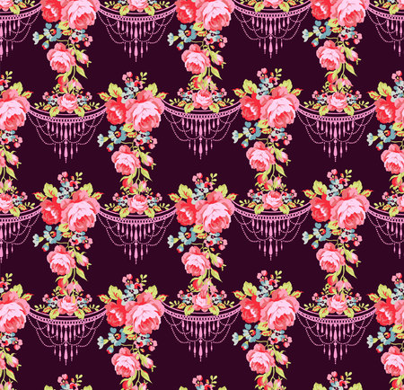 vintage floral: Beautiful floral seamless pattern with roses on a purple background Illustration