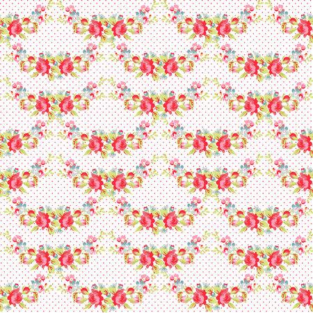 red polka dots: Patrón sin fisuras con las rosas rojas sobre un fondo con lunares rojos