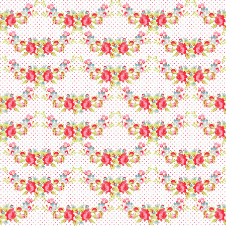 lunares rojos: Seamless Pattern with red roses on a background with red polka dots