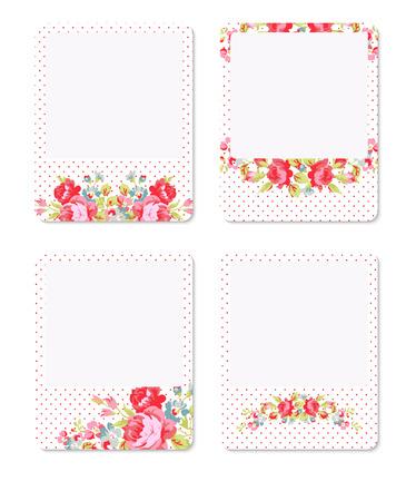 red polka dots: Vector la tarjeta con rosas rojas sobre un fondo de color rosa con lunares rojos