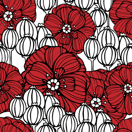 white boxes: Seamless pattern with red poppy flowers and white poppy boxes Illustration