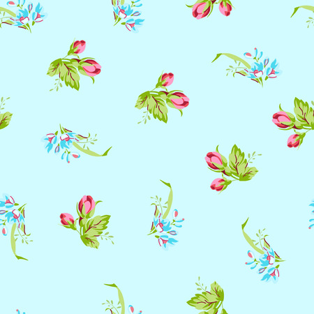 petites fleurs: Vector seamless pattern with small blue forget-me-not flowers and buds red rose