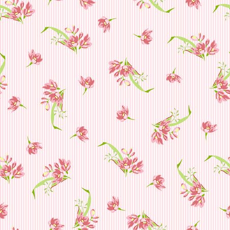 pattern vintage: Seamless floral pattern with pink little flowers